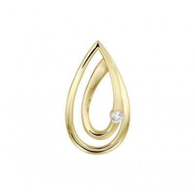 Gouden hanger druppelvorm met diamant
