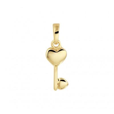 Gouden hanger met hartjes sleutel