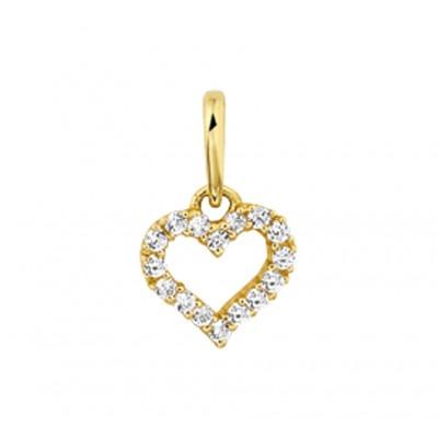 Gouden hart hanger met zirkonia