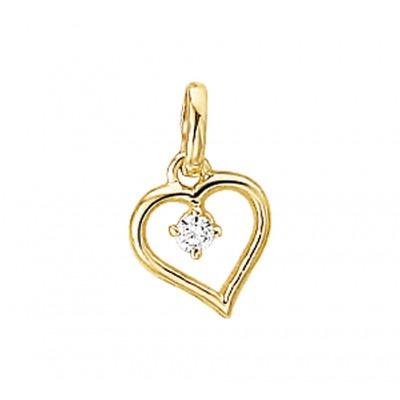 Gouden hart met hangende zirkonia