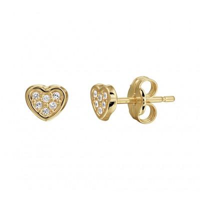 Gouden hartjes oorbellen diverse zirkonias