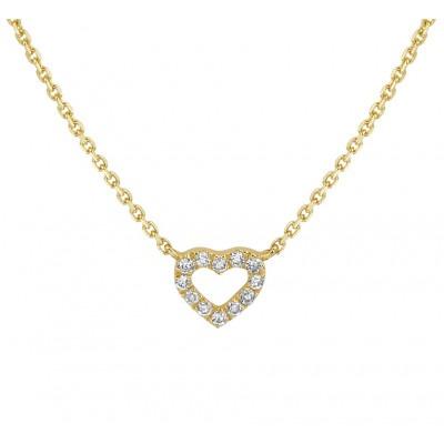 Gouden ketting met diamanten hartje