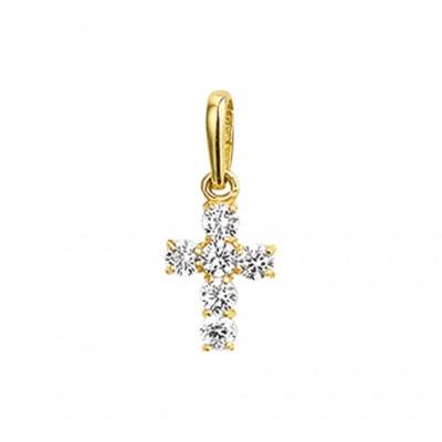 Gouden kruisje met zirkonia