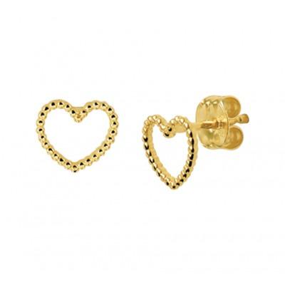 Gouden oorbellen hartjes met bolletjes