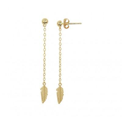 Gouden oorbellen lang met veren