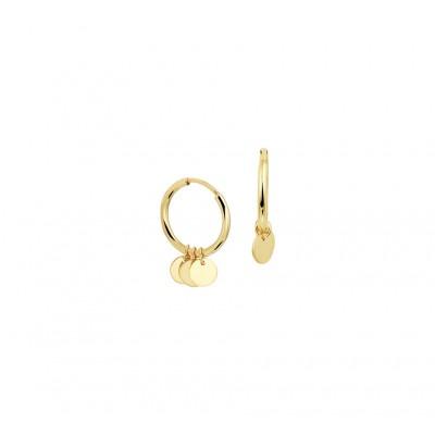 Gouden oorbellen met hanger drie rondjes
