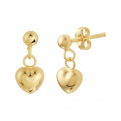 Gouden oorbellen met hanger hart