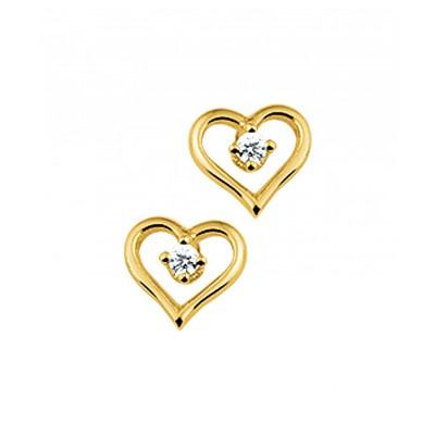 Gouden oorbellen met zirkonia 6 mm