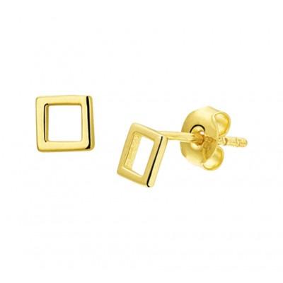 Gouden oorbellen vierkant
