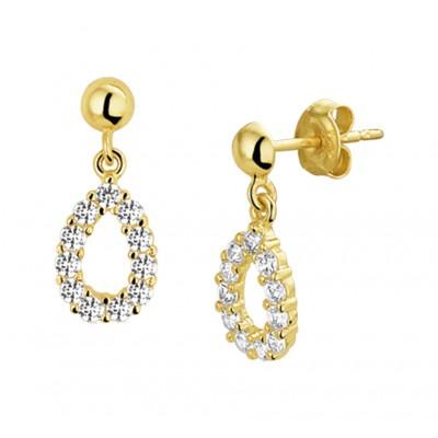 Gouden oorhangers druppels met zirkonias