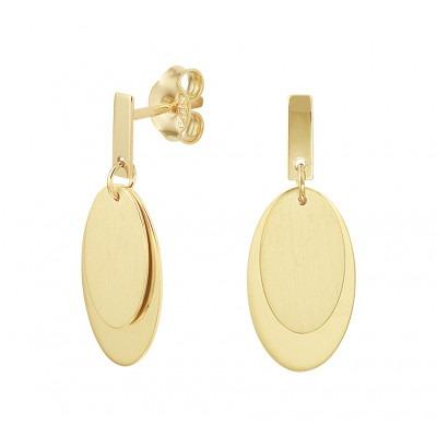 Gouden oorhangers met twee ovale hangers