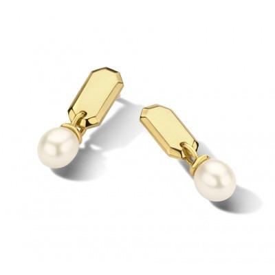 Gouden oorhangers met zoetwaterparel