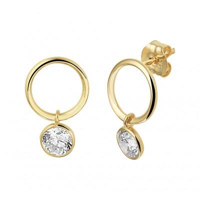 Gouden oorhangers rondje met zirkonia