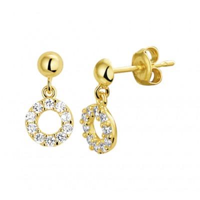 Gouden oorhangers rondjes met zirkonias