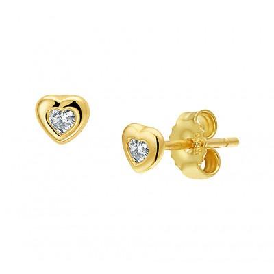 Gouden oorknopjes hart zirkonia