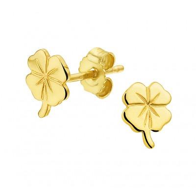 Gouden oorknopjes klavertje vier