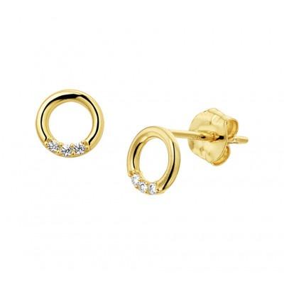 Gouden oorknopjes rondje met zirkonia