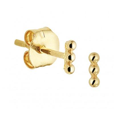Gouden oorknoppen 3 bollen staafje
