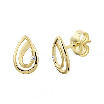 Gouden oorknoppen druppel met diamant