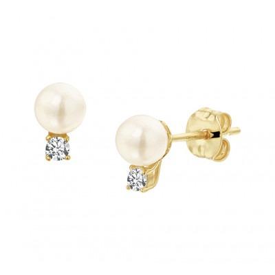 Gouden oorknoppen met parels en zirkonias