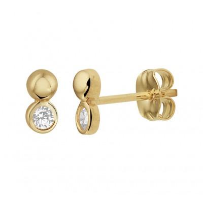 Gouden oorknoppen met zirkonia