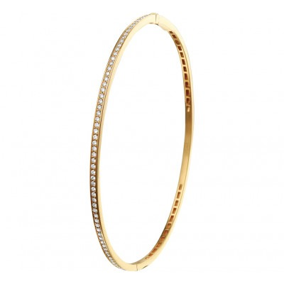 Gouden slavenarmband met diamant 2 mm