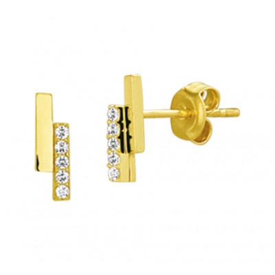 Gouden staafjes oorbellen 2 staafjes