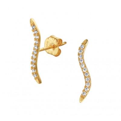 Gouden staafjes oorbellen kronkel 15 mm