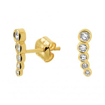Gouden staafjes oorknoppen met zirkonia