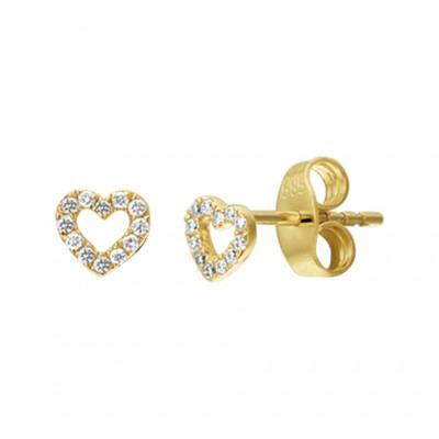 Hartjes oorbellen goud knopjes met diamant
