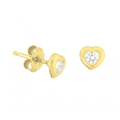 Hartjes oorbellen goud met zirkonia
