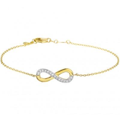 Infinity armband goud en zirkonia
