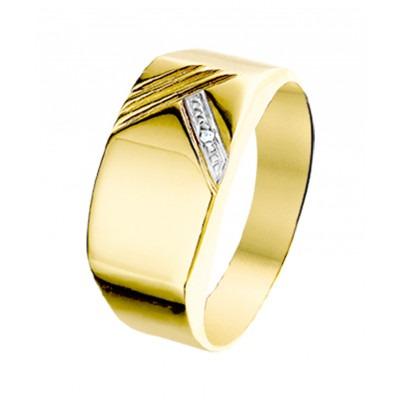 Klassieke zegelring met diamant voor heren