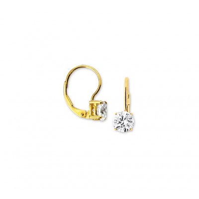 Luxe gouden oorhangers met zirkonia 17 mm hoog