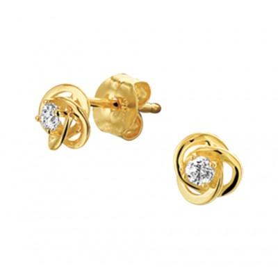 Luxe goudkleurige oorknoppen met zirkonia 5 mm breed