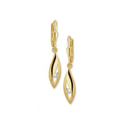 Luxe oorhangers van goud met zirkonia 20 mm hoog