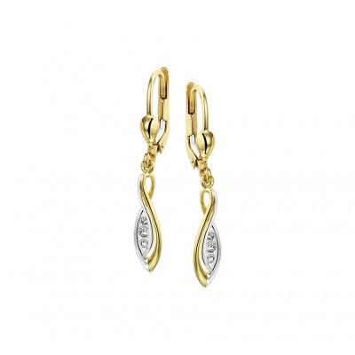 Luxe oorhangers van goud met zirkonia 34 mm hoog