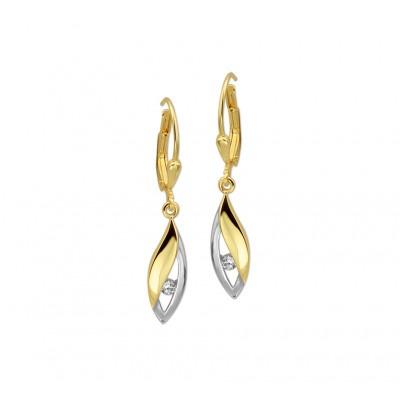 Mooie gouden oorhangers met zirkonia 20 mm hoog