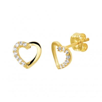 Mooie hartjes oorbellen van goud met zirkonia 7 mm