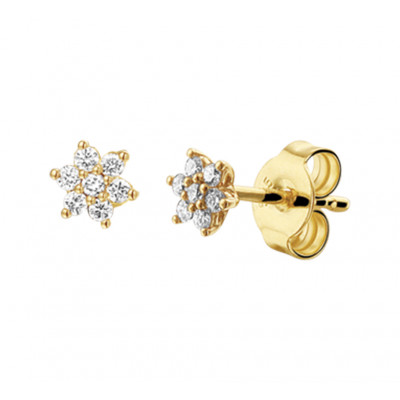 Oorknoppen goudkleurig met diamant 5 mm breed