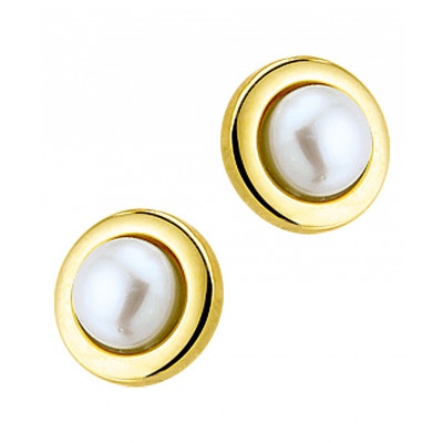 Oorknoppen van 14-krt goud met parel
