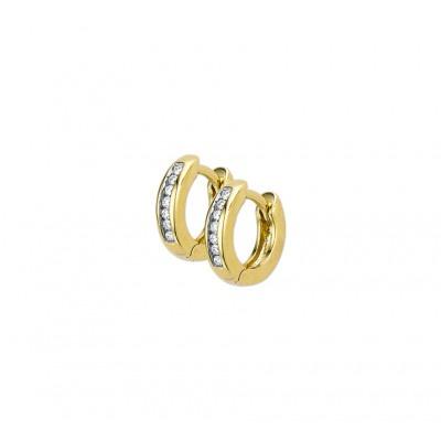 Paar echt gouden klapcreolen incl diamant
