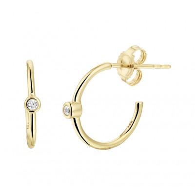 Ronde gouden oorstekers met zirkonia