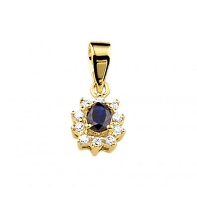 Saffier hanger goud met diamant