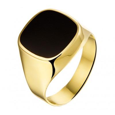 Sierlijke 14-karaats gouden zegelring met onyxsteen