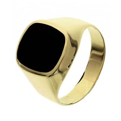 Stoere gouden zegelring met onyxsteen