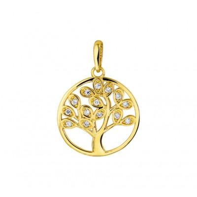 Zirkonia levensboom hanger goud