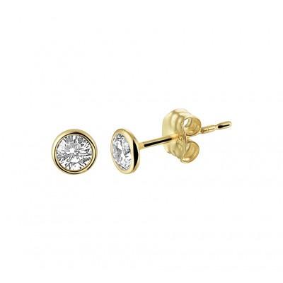 Zirkonia oorbellen goud 4 mm