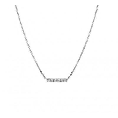 14-karaat witgouden edelsteen ketting met diamant