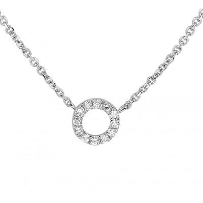 14 krt witgouden edelsteen ketting met diamant